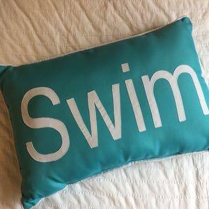 "Teal Blue ""SWIM"" pillow"